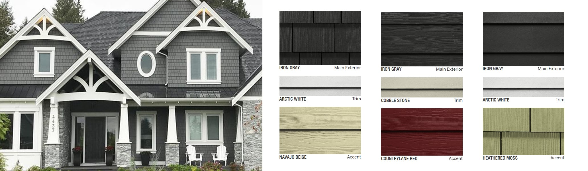 House with James Hardie Shingle Siding in iron gray with contrasting arctic white trims