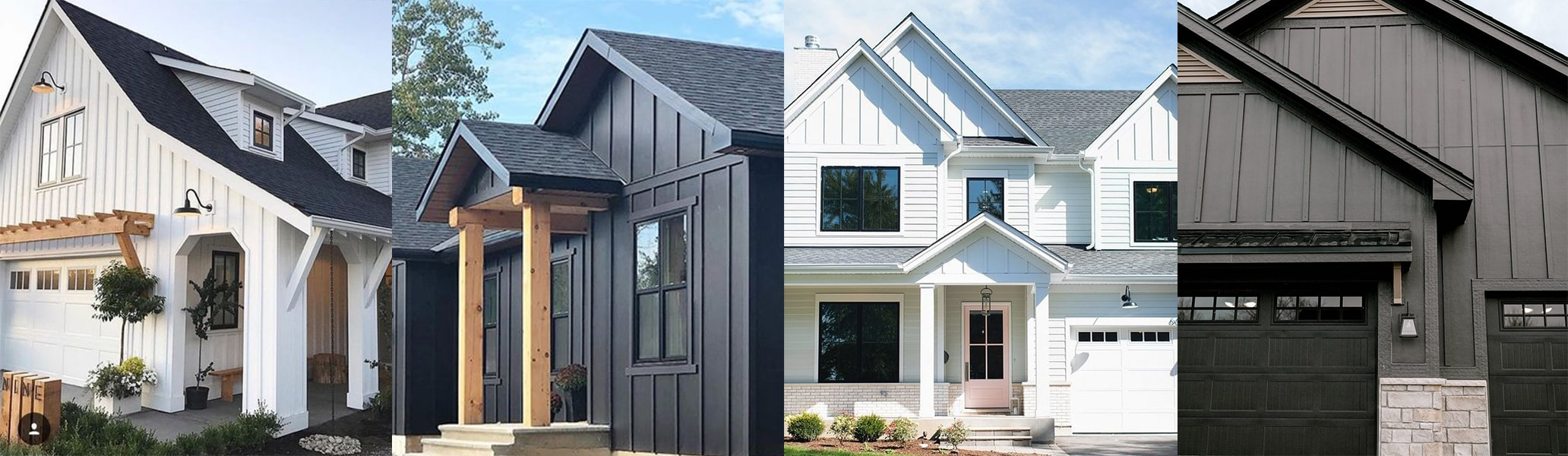Homes with vertical siding in white and dark grey